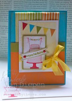 Stampin' Up!  Make A Cake Happy Birthday  by Kimberly Van Diepen at Stampin' By The Sea