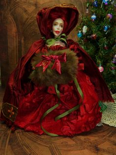 OOAK Christmas Miniature 5.5 inch Poseable Dollhouse by LoreleiBlu, $97.00