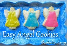 Easy to decorate angel cookies- best cookie icing recipe for kids EVER! Fun Bible snacks for kids.