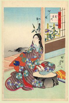 Japanese Woman | Tattoo Ideas & Inspiration - Japanese Art | Chikanobu - SetsuGekka (Snow, Moon and Flowers) Series, 1899 | Study of a young lady making a folding fan | #Japanese #Art