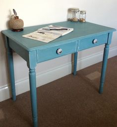 Gorgeous side table painted in Annie Sloan Provence & Old White