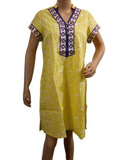 Boho Tunic Dress Yellow Printed Cotton Boho Kurti Dress $19.99