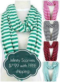 Love these striped infinity scarves -- just $7.99 shipped.