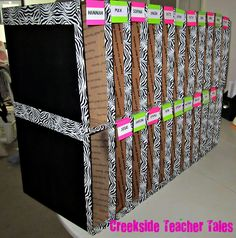 DIY classroom mailboxes!!  Made from priority boxes from the post office. Wonder if they donate? :-)