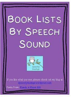 Book Lists By Speech Sound