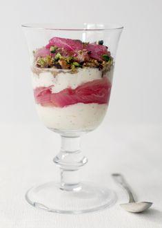NOM rhubarb and mascarpone parfait