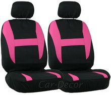 Pink & Black mesh car seat covers. Set of 2 seat covers to update your car from CarDecor.com.