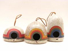 Hand-thrown/hand-painted birdfeeders by K&R Ceramics