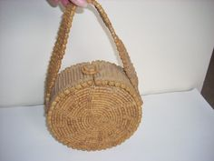 ANTIQUE ROUND TWISTED SWEETGRASS AMERICAN OLD WICKER RAFFIA BASKET / PURSE XLNT