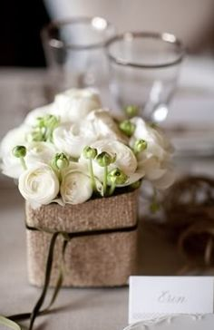 Flowers with Burlap Covered Vase