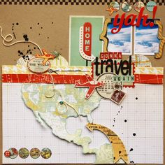 COVER PAGE with map of the world to mark destinations coveredTravel scrapbooking layout idea - Scrapbook.co