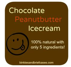 Chocolate Peanut butter Ice cream - 100% natural with only 5 ingredients! YUM!