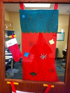 Jody's and Theresa's stockings at CCTSI in the Leprino Building #CUHSLibrary