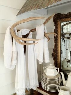Deer antler towel rack