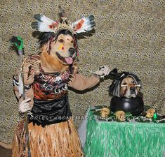 Cool Dog Costumes: Witch Doctor and Shrunken Head... Coolest Halloween Costume Contest