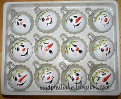 I like all the different expressions on these snowman ornies