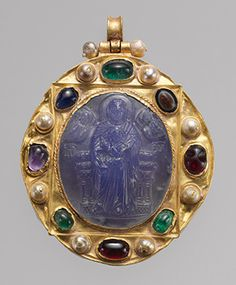 Pendant Brooch with Cameo of Enthroned Virgin and Child, cameo 11th–12th century; Rus' mount 12th–14th century  Byzantine (Constantinople)  Chalcedony cameo in gold mount with pearls, emeralds, garnets, sapphires, and sardonyx intaglio