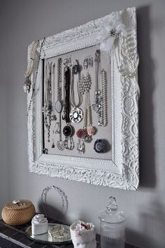 Pretty way to display jewelry! Picture frame & cork board (or whatever suits you)