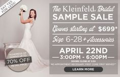 {Wedding Wednesday} Kleinfeld Sale Up to 70% starting at $699 | Pretty Pear Bride | http://prettypearbride.com/wedding-wednesday-kleinfeld-sale-up-to-70/