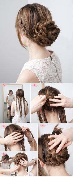hairstyles thick hair, braided hairstyles updo, thick hair style, hairstyle tutorials, braid bun, thick hair hairstyles, braid hair, fancy bun hairstyles, updo hairstyles for thick hair