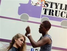 Kyla Stewart gets her hair styled by Brandi Beck Kyla Stewart gets her hair styled by Brandi Beck before the second annual Style Week Pittsb...