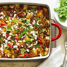 Perfect for brunch or larger crowds, this colorful casserole gets a kick from a spicy sausage-and-pepper combo: http://www.bhg.com/recipes/healthy/breakfast/cheap-healthy-breakfast-ideas/?socsrc=bhgpin040514southwestpoblanochorizostrata&page=1