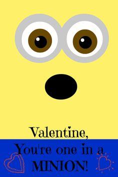 minion printable valentine, #minion, #valentine, #printable, #despicableme, #oneinaminion