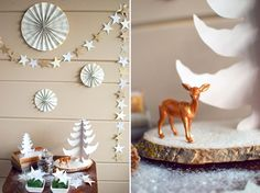 DIY DECOR | Star Garland, Book Page Pinwheels, Pine Tree Favors and Paper Trees = A Sparkly DIY Wintry Snow Scene! | by Lauren Elise Crafted | The Knotty Bride™ Wedding Blog + Wedding Vendor Guide