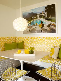 yellow dining room nook banquette