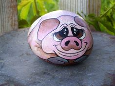 pig watercolor | pig rock painted pig rock by dixie andrew