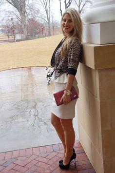 Teodoras Lookbook White Peplum Dress for the office.  #office #business #professional #fashion #style #dress teodorab.com