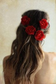 Gorgeous array for Scene 2: Wedding Hair Flowers, Summer Hair, Long Hair, Red Flowers, Wedding Hairs, 4Th Of July, Red Roses, Bridesmaid Hairstyles, Flower Hair