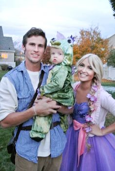"""""""Rapunzel, Flynn Rider, and Pascal.   THIS IS THE BEST FAMILY COSTUME THING EVER!"""" LOVE"""