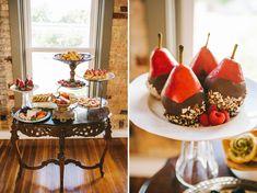 dessert bar - chocolate covered pears