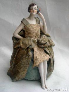 Large Art Deco Fasold Stauch Flapper Lady Half Doll on Pin Cushion Base w Legs | eBay