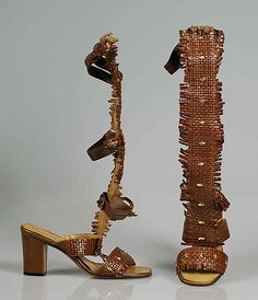 brown leather gladiator sandals, ca. 1968.