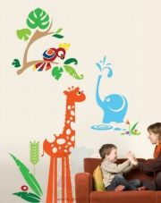 Elephant Shower with Giraffe and Parrot – Playroom Wall Decals – evgieNev