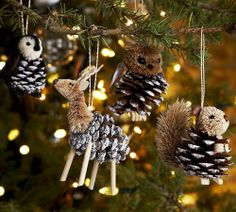 Pine Cone Ornaments: Brush pine cones with white paint to bring out their texture. Draw toes onto the ends of matches or popsicle sticks with a felt-tip pen and hot glue them to the pine cones as legs or feet. Take apart small stuffed animals and glue the heads and tails to the pine cones. You can also use fluffy pom poms, fabric paint to draw noses and eyes and cardboard cut-outs for ears and antlers. Tie a string around the pine cone and create a loop, or hot glue onto the pine cone.