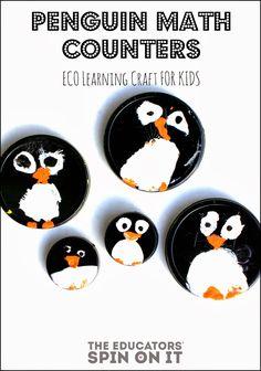 craft, penguin lid, penguin math, ornament, penguins, teacher, preschool learning