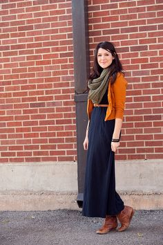 """It's like wearing pajamas, but better.""  Style a maxi dress for fall with a scarf, cardigan, and boots.  By Kendi Everday"