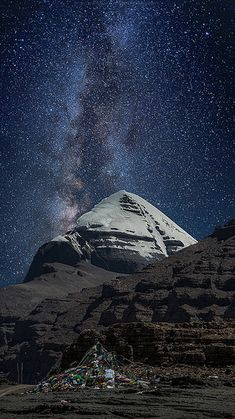 Milkyway over the sky of Tibet, Mount Kailash.