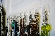 necklace storage, organ idea, craft, organizing jewelry ideas, necklac storag, jewelri storag, jewelri organz, decor idea, necklac organ