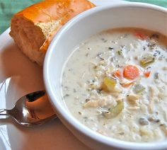 Best soup ever - slow cooker creamy chicken and wild rice soup...