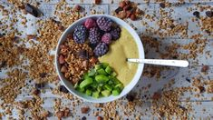 Simple smoothie bowl with frozen bananas and spices.