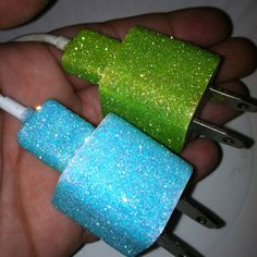 Mod Podge + Glitter = no one can take my iPhone charger again!!!
