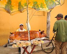 Cuban roast pig sandwich cart