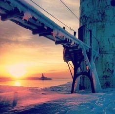 Manistee winter sunset