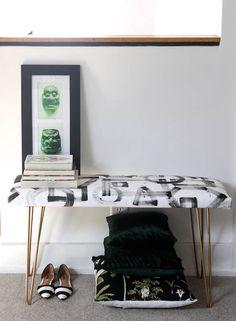 DIY Brushstroke Upholstered Bench - Design Sponge