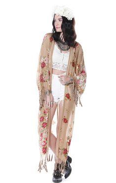 Summer Gypsy Floral Velvet Burnout Tassel Kimono - Saltwater Gypsy #saltwatergypsy