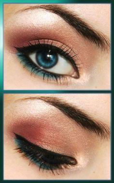 eye makeup, eyeshadow, color combos, colors, peach, green eyes, eye liner, shadows, blues